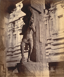 Close view of pillar with sculptured figure from the Pudu Mandapa, Minakshi Sundareshvara Temple, Madurai. 10032309